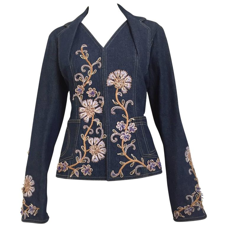 Christian Dior by John Galliano denim embroidered fitted jacket 1