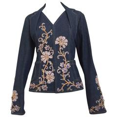Christian Dior by John Galliano denim embroidered fitted jacket
