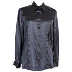 Giorgio Armani Top Black Silk Charming Hidden Lace Inset 46 Runs Small  New