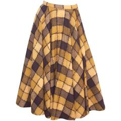 Checkered 1950's Wool Full Circle Skirt