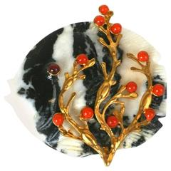 MWLC Zebra Agate Angel Fish Brooch