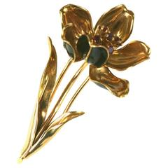 Charming Mechanical French Enamel Flower Clip