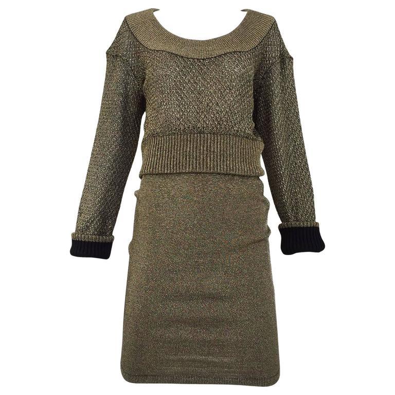 80s ALAIA gold metallic knit top and skirt set 1