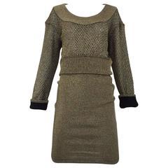 80s ALAIA gold metallic knit top and skirt set