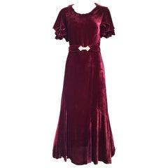 1930s Maroon rayon velvet dress with rhinestones belt