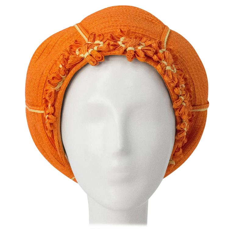 60s Christian Dior Orange Daisy Straw Hat  For Sale