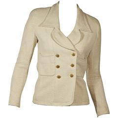 Cream Vintage Chanel Double-Breasted Jacket