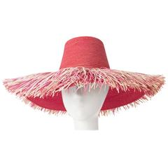 60s Pink Straw Hat made in Italy