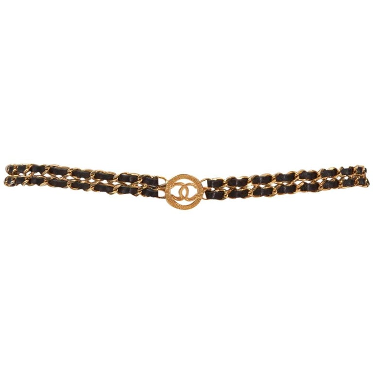 Chanel Goldtone & Leather Chain Belt