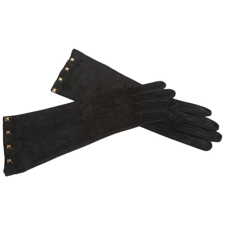 Yves Saint Laurent New Studded Suede Gloves