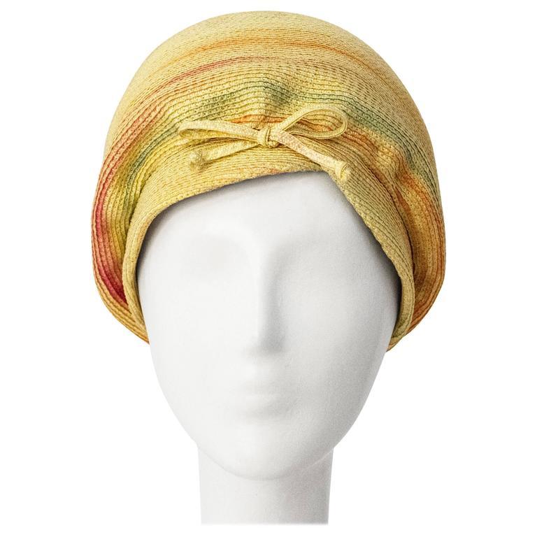 60s Christian Dior Paris Straw Hat For Sale