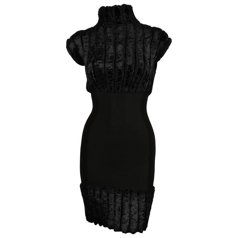 1991 AZZEDINE ALAIA black ribbed chenille dress
