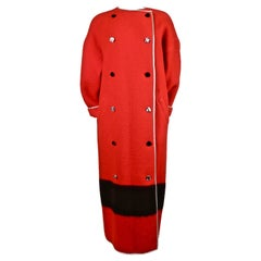 GEOFFREY BEENE red wool blanket coat with faceted buttons