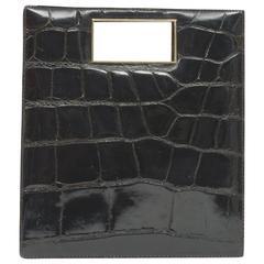 Brown Alligator Rectangular Handbag