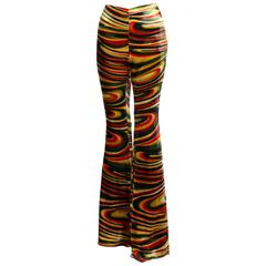 1990s Gucci by Tom Ford  Runway Psychedelic Swirl Silk Velvet Pants Documented