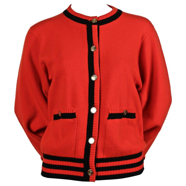 1980's CHANEL red and black cashmere cardigan sweater 1