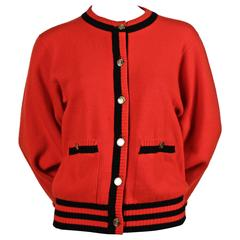 1980's CHANEL red and black cashmere cardigan sweater