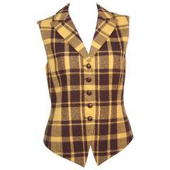 1980's Mondi Plaid Menswear Style Waistcoat Vest