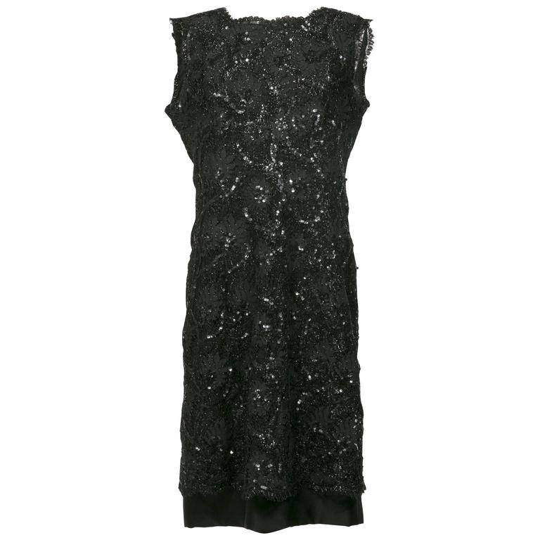 1960 's Balenciaga Haute -Couture Blake Lace Sequins Cocktail Dress For Sale