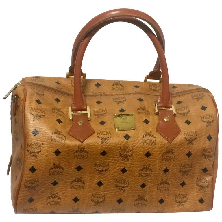 Vintage Mcm Brown Monogram Duffle Bag Sdy Uni Use Purse For