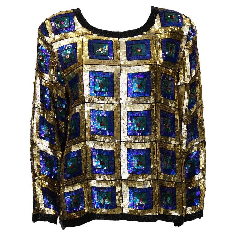 1970's Gold Sequin Pull-Over Top