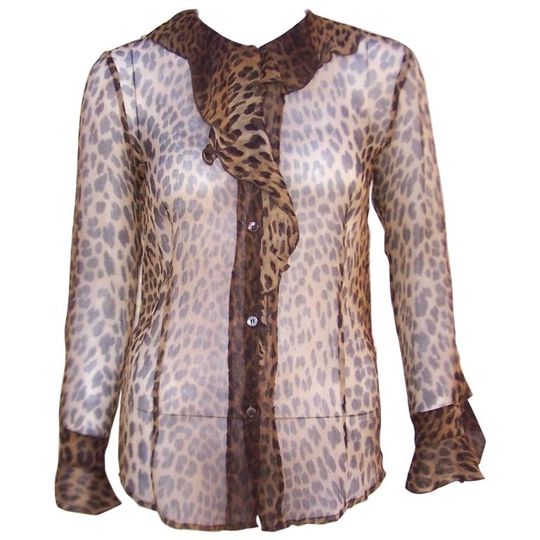 Purrrrfect 1990's Moschino Sheer Leopard Print Top