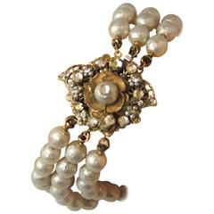 Vintage Signed Miriam Haskell Multi-3-Strand Faux Pearl Bracelet
