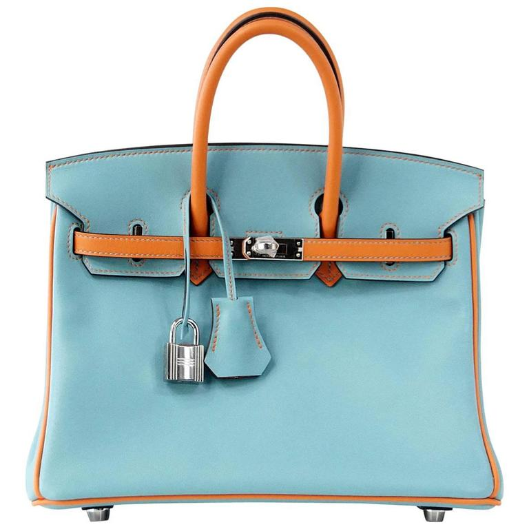 339aea702581 HERMES BIRKIN Bag 25 Special Order Bleu Saint Cyr and Feu Swift Palladium  For Sale