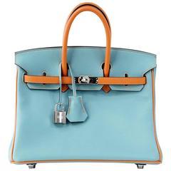 HERMES BIRKIN Bag 25 Special Order Bleu Saint Cyr and Feu Swift Palladium