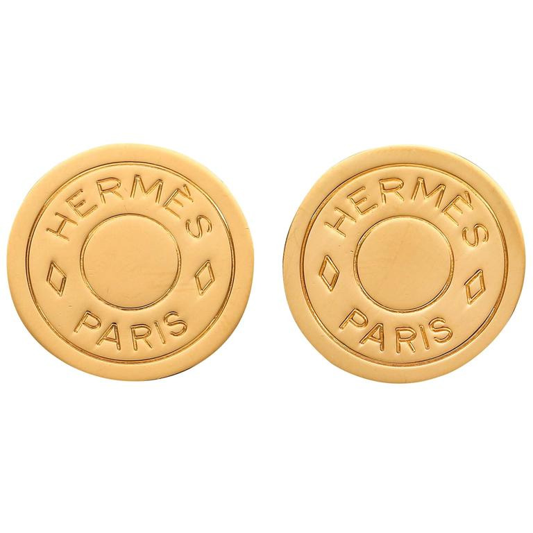 Hermes Clou De E Bijouterie Fantaisie Paris Gold Logo Stud Clip Earrings