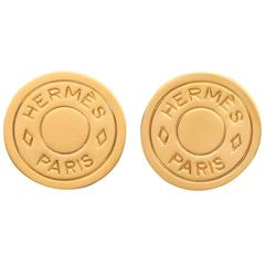 "HERMES ""Clou de Selle"" Bijouterie Fantaisie Paris Gold Logo Stud Clip Earrings"