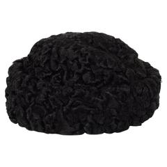 Chanel Black Persian Lamb Pill Box Hat Sz 58