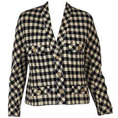 Cream & Blue Vintage Chanel Checkered Jacket