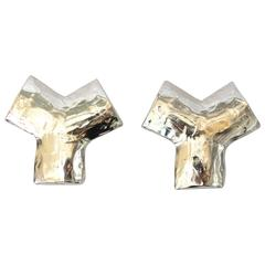 "1970S  Yves Saint Laurent "" Y"" Clip Earrings"