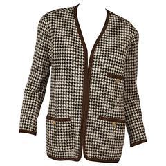 Brown Vintage Chanel Houndstooth Jacket