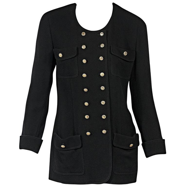 Black Vintage Chanel Corduroy Jacket For Sale