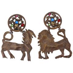 Rare 1970S Yves Saint Laurent Animal Sculpture Clip Earrings