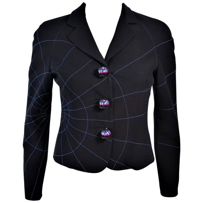 5460fb26f7 HomeFashionClothingJackets. MOSCHINO CHEAP & CHIC Functional Compass Button  Geographic Jacket Size 4 For Sale