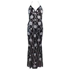 STEPHEN YEARIK Brown Sequin Rhinestone Floral Embellished Halter Gown Size 4