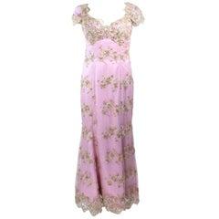 BARACCI Lavender Lace Rhinestone Corset Gown Size 6 8