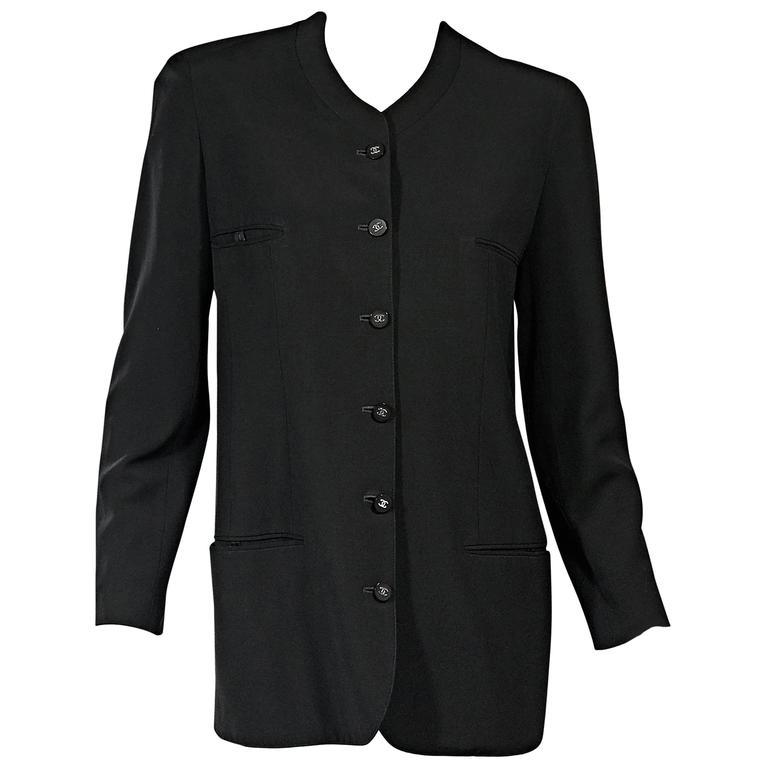 Black Vintage Chanel Button-Front Jacket