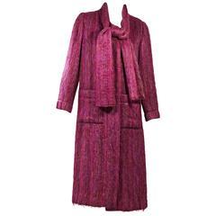 Pink Vintage Chanel Neck Scarf Wool Jacket