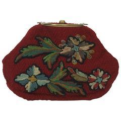 Morris Moskowitz Red Crewel Handbag