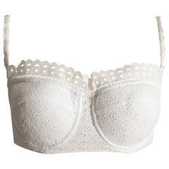 Alaia white broderie anglaise padded bra, circa 1992