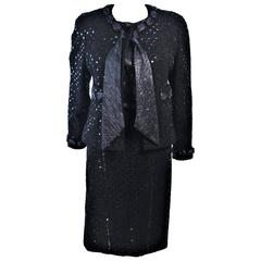 CHANEL Black Metallic Lame Skirt Suit Hiver 1983 1984 Size 38