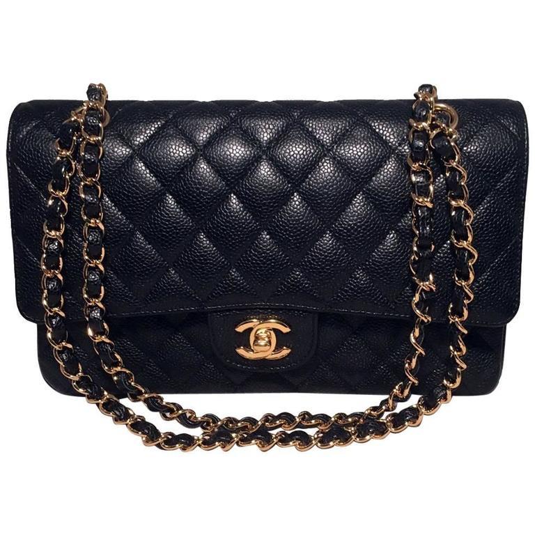 99c09fe7e8ca3c Chanel Black Caviar 10inch 2.55 Double Flap Classic Shoulder Bag For Sale