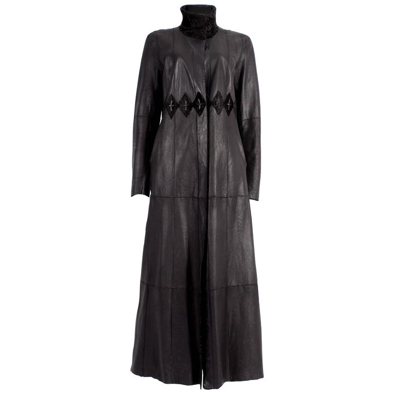 Zac Posen reversible leather and fur full length coat, circa 2000s 1