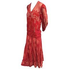 Zandra Rhodes Scarlet Silk Printed BoHo Gown with Beadwork Embellishment