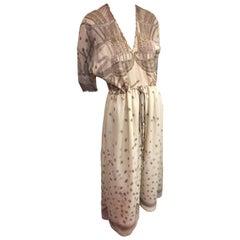 "1980s Zandra Rhodes Ivory Silk Chiffon ""Peasant"" Dress w Iconic Beading & Print"