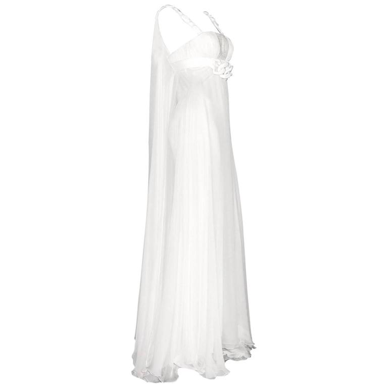 Stunning Versace Ivory Silk Goddess Dress Evening Wedding Gown
